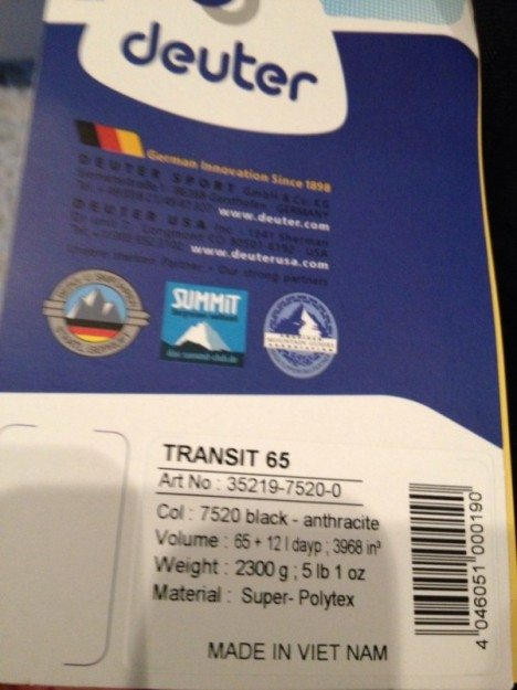 Deuter Transit 65L