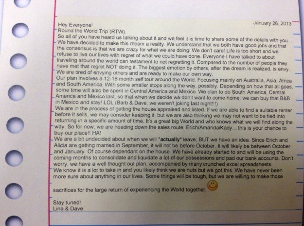 Letter to the Family!