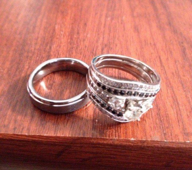 Diamond wedding ring and travel band