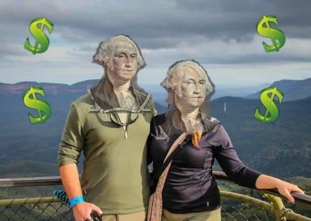 walking money Walking dollar sign Divergent Travelers 6 months RTW