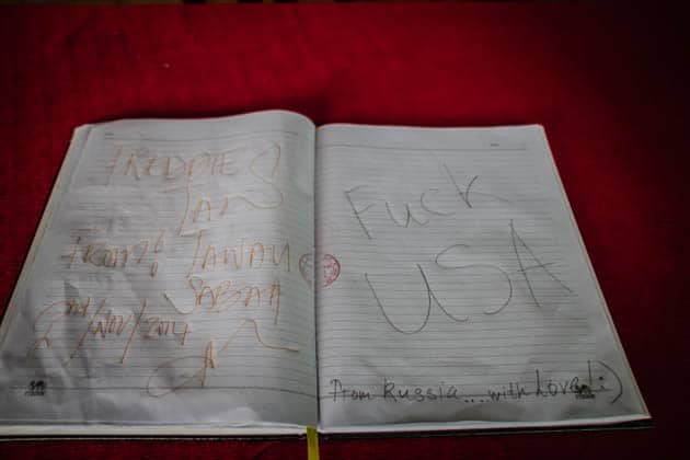 Photo of the guestbook at the Cu Chi Tunnels.... it was lying open to this page.