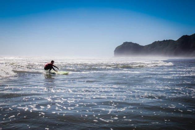 Surfing Piha New Zealand