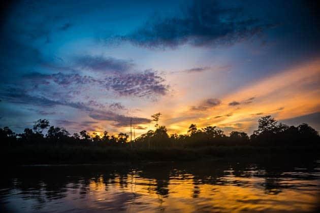 Kinabatagan River Sunset Sabah Borneo