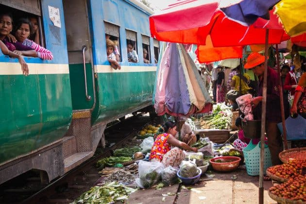 Yangon Circle Train Market Myanmar