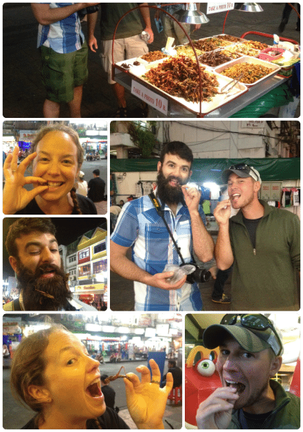 Eating grasshoppers Thailand