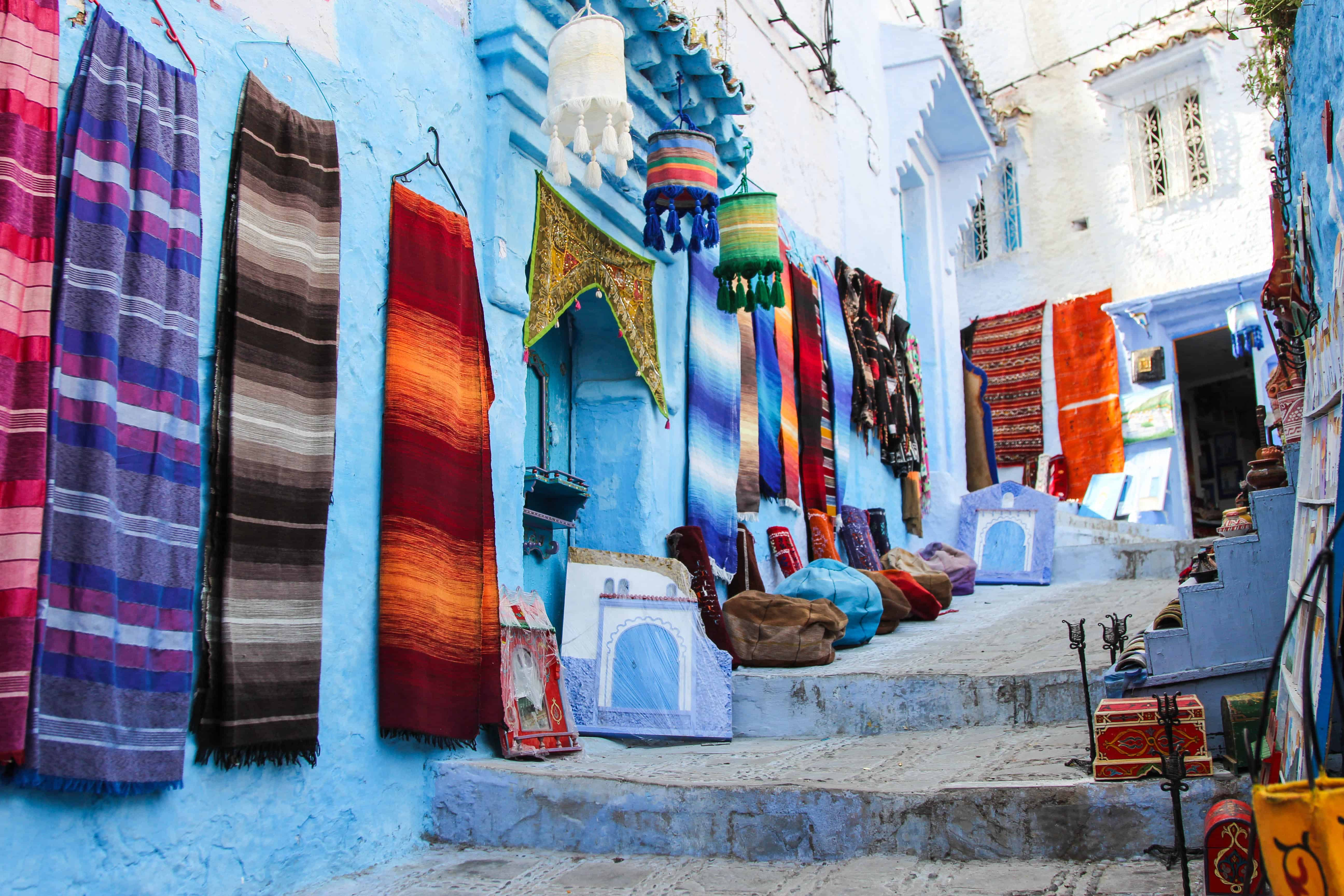 Colorful Rugs Chefchaouen Morocco Blue City