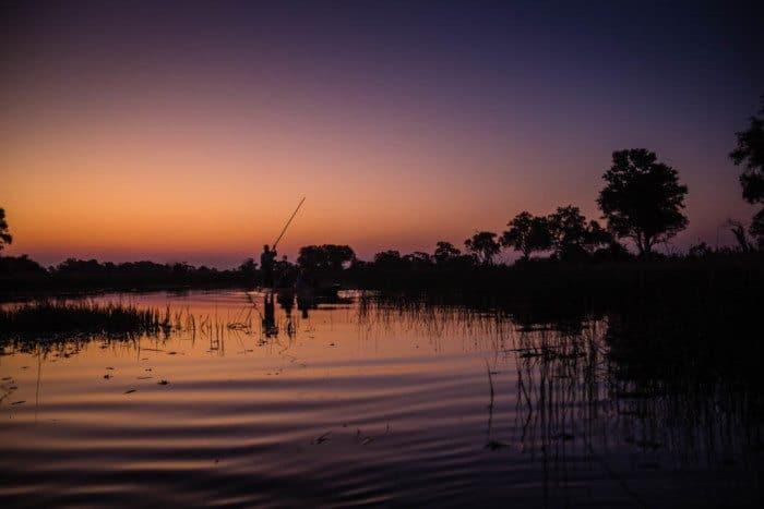 Okavango Delta Sunrise Mokoro Canoe Botswana