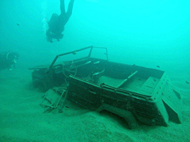 Sunken Jeep Lake Malawi East Africa