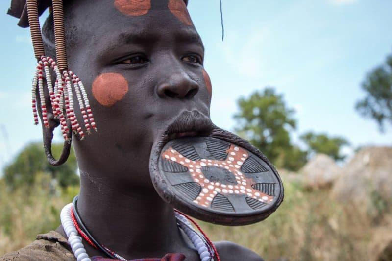 Lip Plate Mursi Tribe Woman Ethiopia