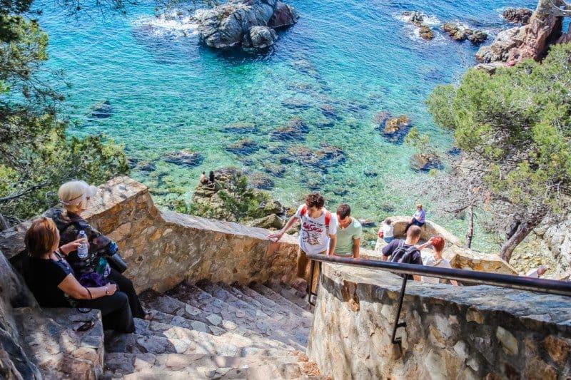 People hiking the Camino de Ronda Lloret de Mar Spain