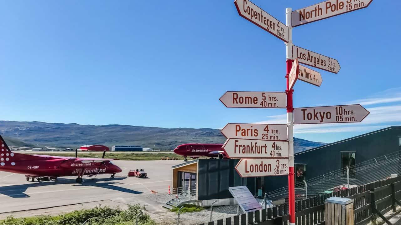 Kangerlussuaq Greenland - Airport sign - Lina Stock